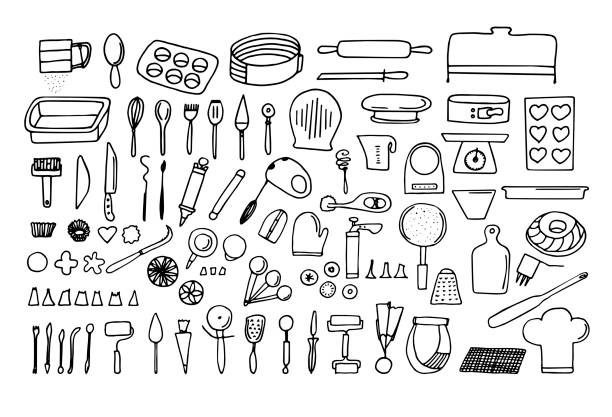 Baking Tools And Essentials Hand Drawn Bakery Supplies
