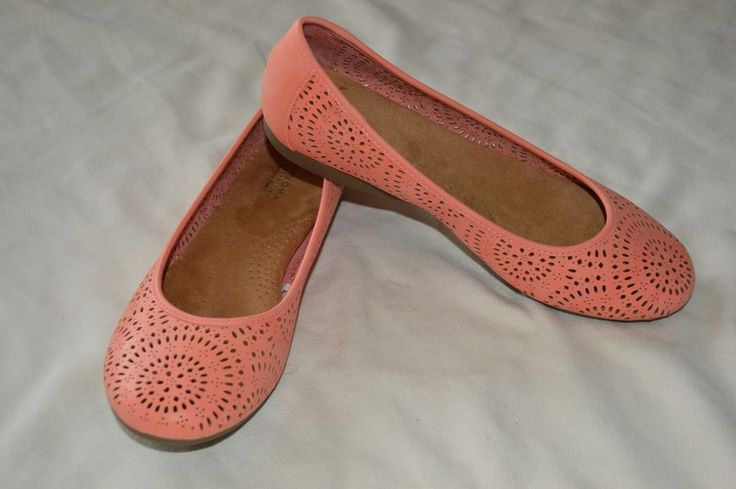 Sonoma Womens 8.5 NEW Memory Foam Peach Coral Flats Slip On Flexible Outsole #Sonoma #Slides #Casual