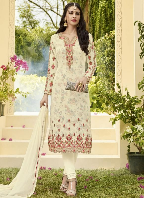 a60d3b3c5 Lovely Cream Georgette Embroidered Work Straignt Churidar Salwar Kameez