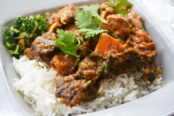 Beef & Sweet Potato Curry with Kale