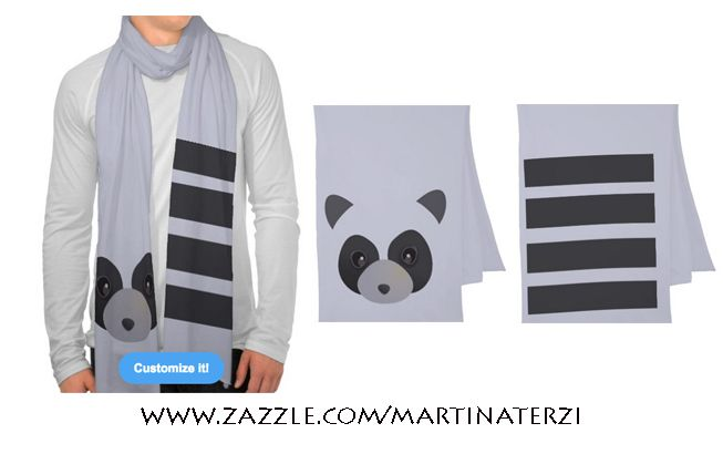Racoon scarf on sale in my zazzle store! (Available in other colors) www.zazzle.com/martinaterzi  check it out!