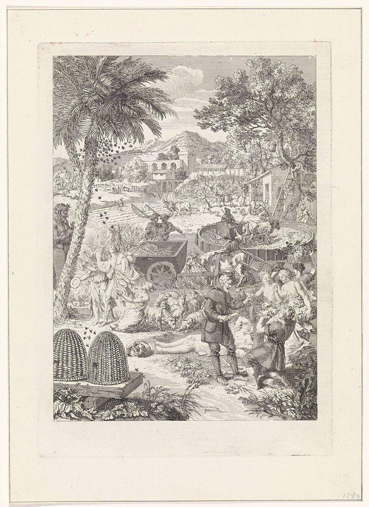 Bernard Picart | Allegorie op de landbouw, Bernard Picart, 1733 | Allegorische titelpagina die het boek Georgica van de dichter Vergilius verbeeld. Op het platteland hebben mannen en vrouwen zich gewijd aan landbouw, het kweken van bomen en de vee- en bijenteelt. Met een lege marge.