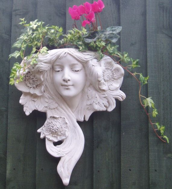 This Is A Stylish Art Nouveau Style Garden Wall Planter Designed By Made By Us Ornate Products Here In The U In 2020 Clay Wall Art Art Nouveau Ceramic Wall Sculpture