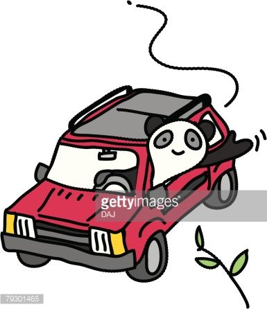 Vektorgrafik : Panda Driving a Car, Illustrative Technique
