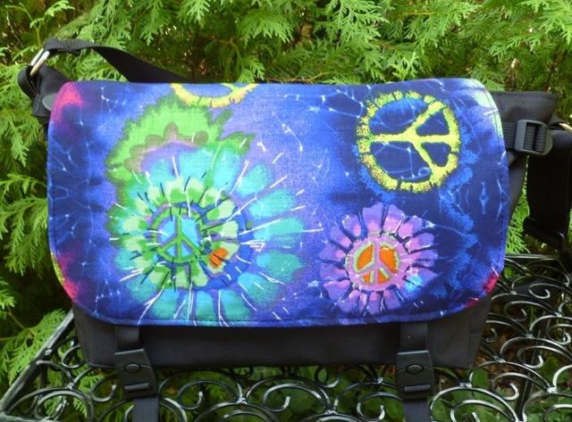 Zoe's Bag Boutique purple faux tie dye peace sign Zelda Messenger Bag