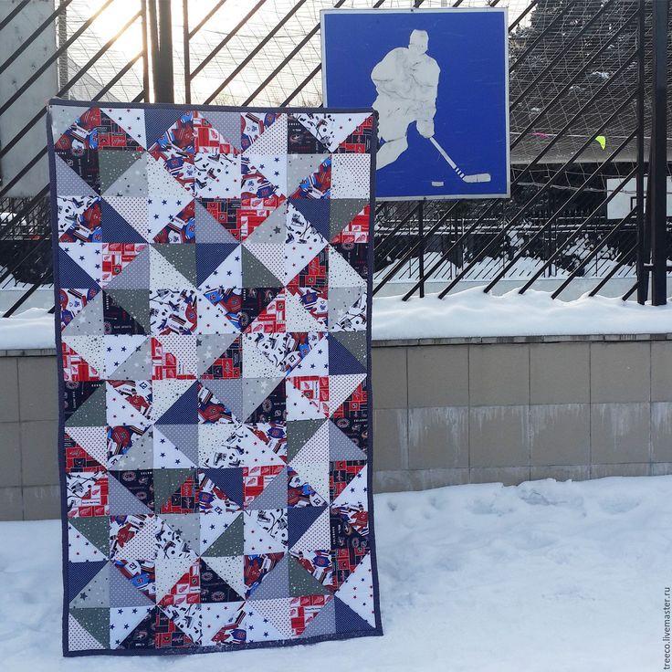 Купить Хоккейное лоскутное одеяло - тёмно-синий, красный, белый, лоскутное одеяло, лоскутное покрывало