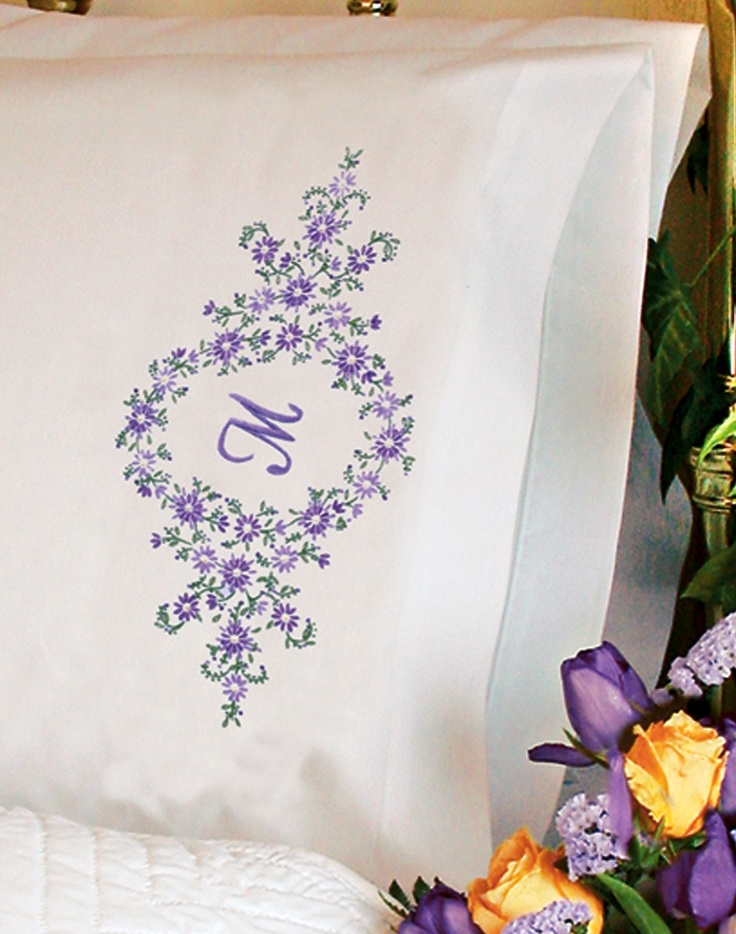 Dimensions Stamped #embroidery DAISY MONOGRAM #pillowcases #DIY #crafts