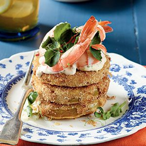 Ice-cold shrimp top sizzling-hot fried green tomatoes in this easy at-home spin on the classic recipe created by New Orleans' Upperline Restaurant.