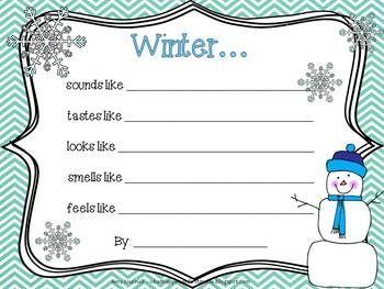 "FREE ""What Winter Looks Like: - a 5 senses seasonal poem"