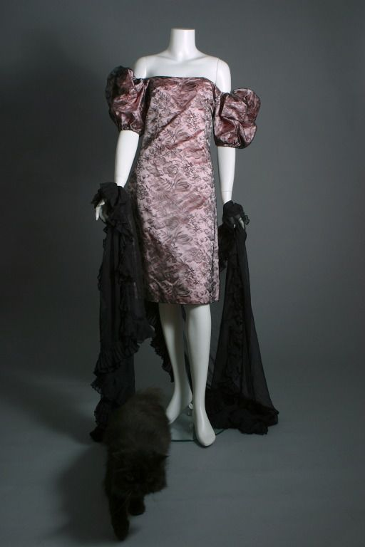 Attributed to Givenchy, Marescot lace and pink satin cocktail sheath, Haute couture, circa 1980  Available US Size 4.