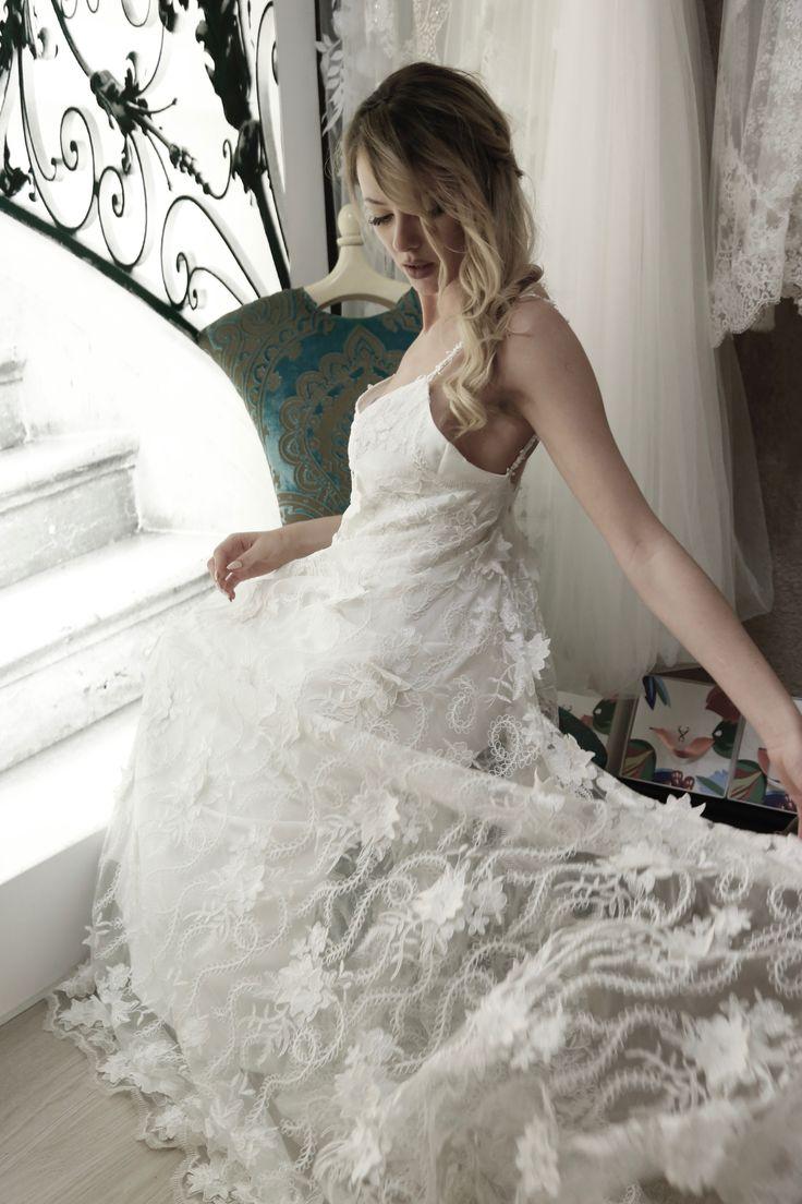 Alvina bridal gown .Bachdi resort by Nymphi .www.nymphidesign.com  Lace, bridal, gown, Boho,wedding