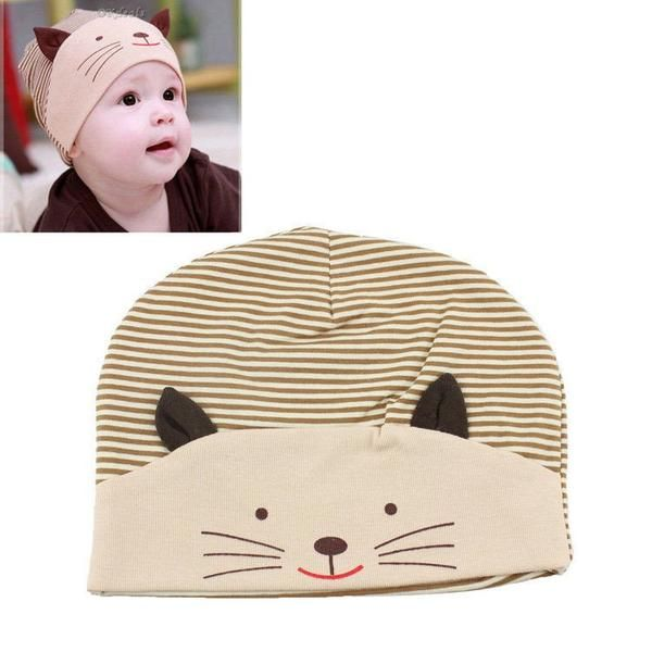Cute 3D Cat Striped Baby Hat & Beanie