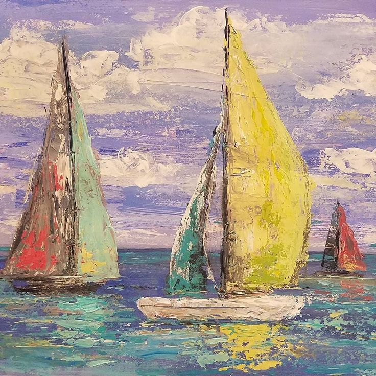 Simple Palette Knife Sailboat Seascape Acrylic Painting Tutorial by Angela Anderson on YouTube #ocean #seascape #art #nautical #sailboat #paint