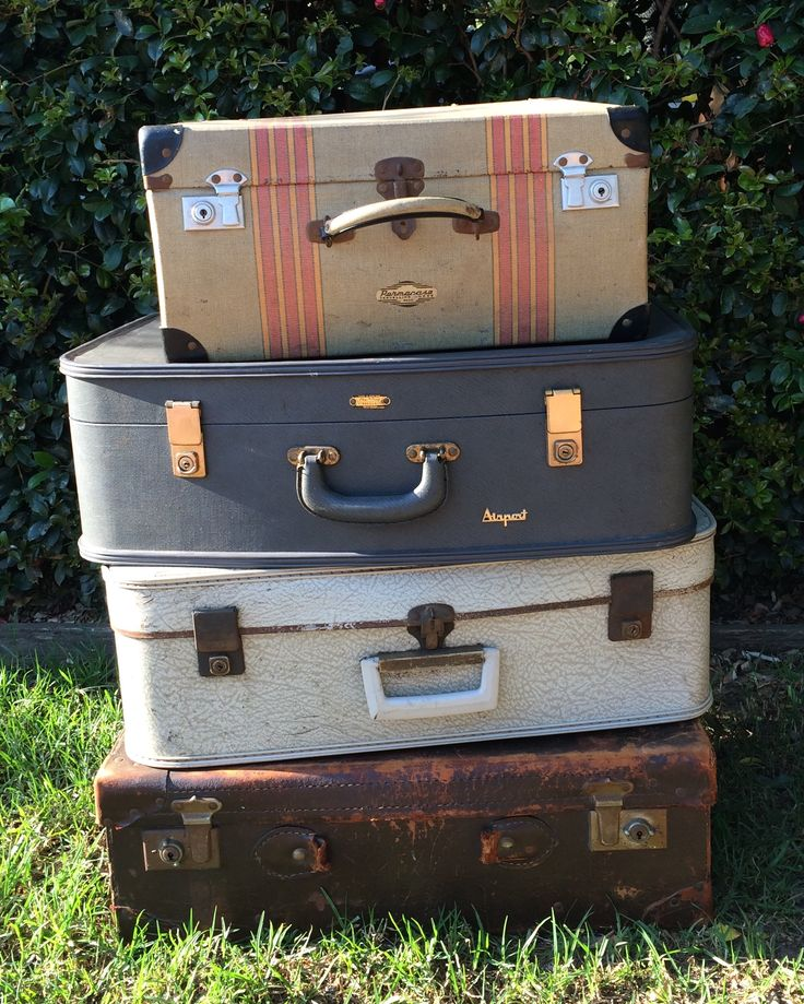 (M) STACK OF VINTAGE SUITCASES $20 EACH