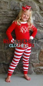 Monogram Pajamas for kids, Christmas Pajamas for boys and girls, personalized, embroidered, babies, toddlers, children $20.00