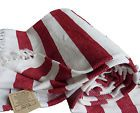 Handmade 180cm Soft Sofa Chair Throw Blanket RED CREAM STRIPE England Clearance