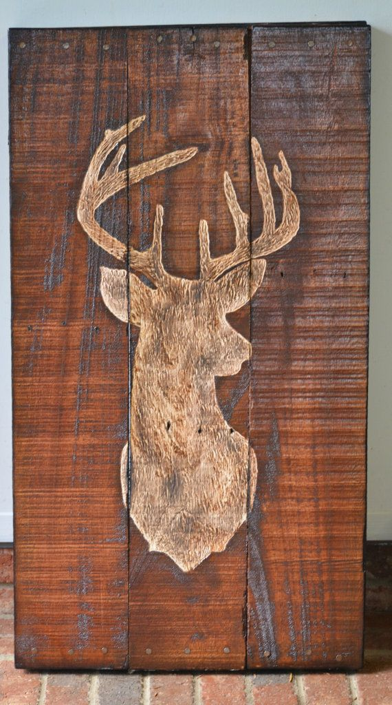 Deer Buck Pallet Wood Art Sign Decor Hunting With Cool Wooden Signs