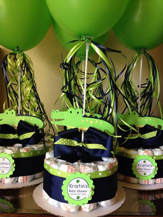 Alligator Baby Shower Diapers Centerpiece with by designsbyemilys