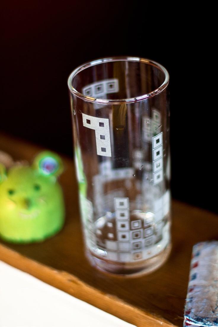 Tetris glass - etching cream on legos?