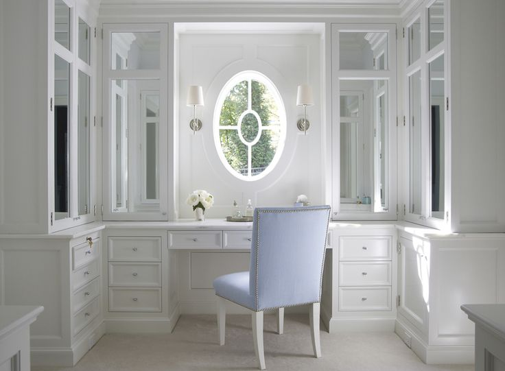 ..I WOULD ADD MIRRORED POCKET DOORS (RECESSED LIGHTS) TO PULL ACROSS WINDOW AT NIGHT FOR MAKE UP APPLICATION