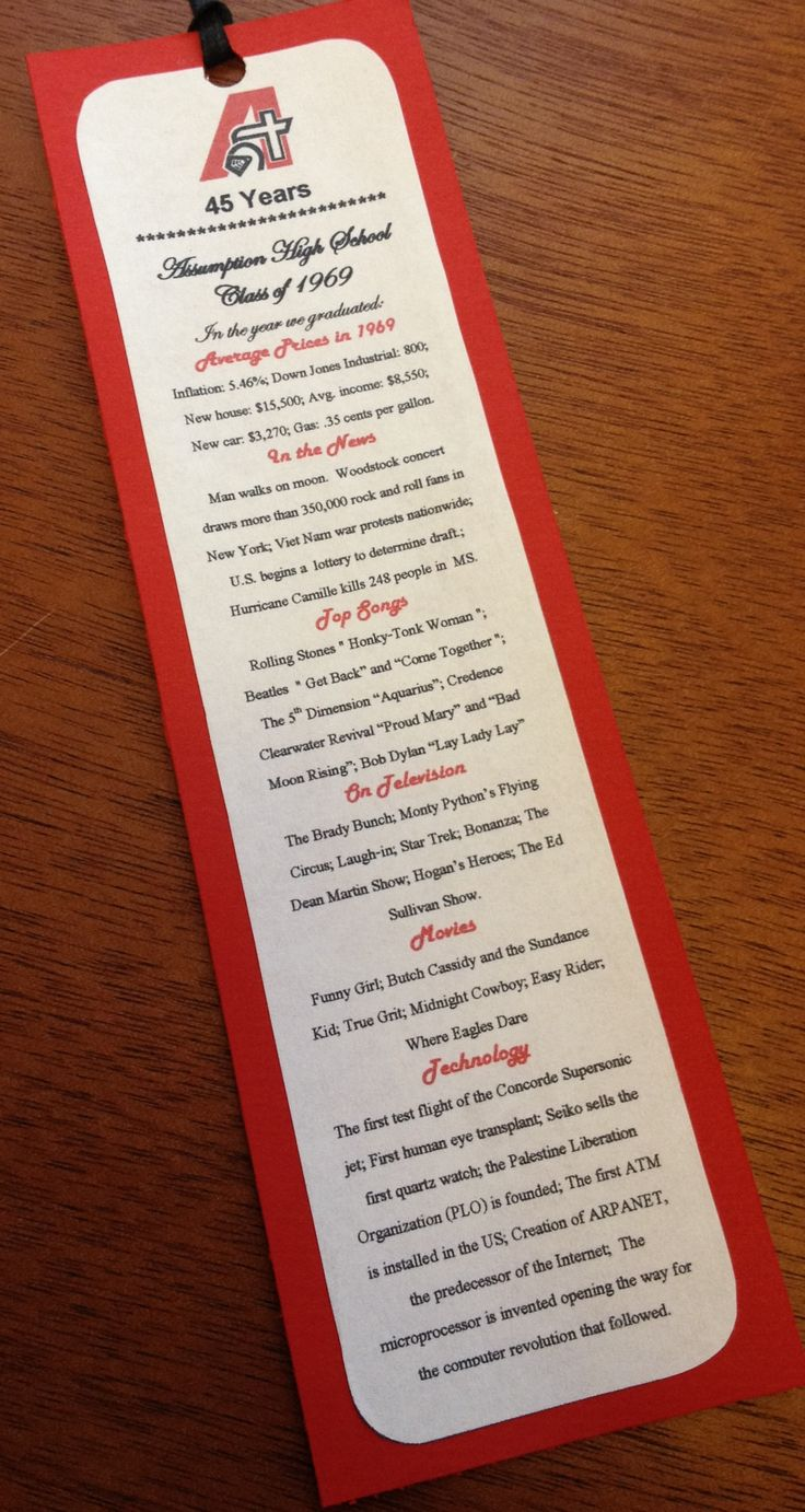 45th Class Reunion Bookmark Favor. Assumption High School Davenport, IA