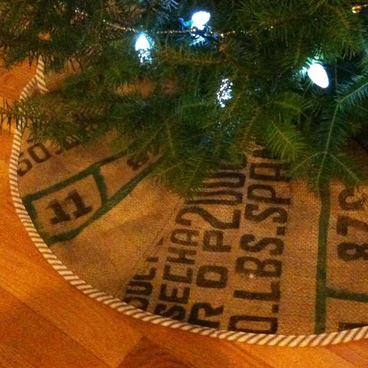 burlap Christmas tree skirt, and made out of burlap coffee bags,  cute & rustic...another option