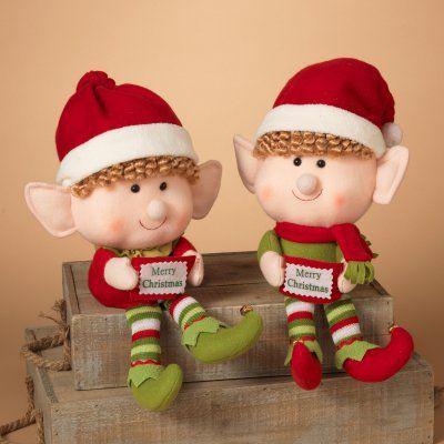 Gerson 14 in. Jumbo Head Plush Elf Shelf Sitters - Set of 2 - 2160120