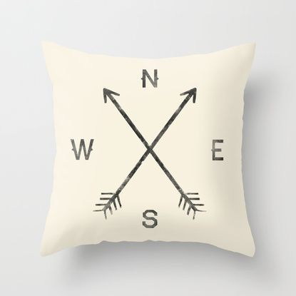 Tons of cute throw pillows $20 each// love this compass pillow