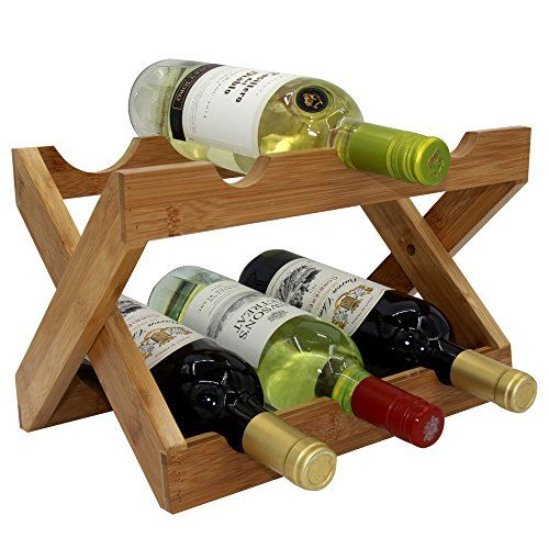 Wine Racks - Autree Natural Bamboo Foldable Countertop Wine Rack 6bottles No Assembly Required -- More info could be found at the image url.