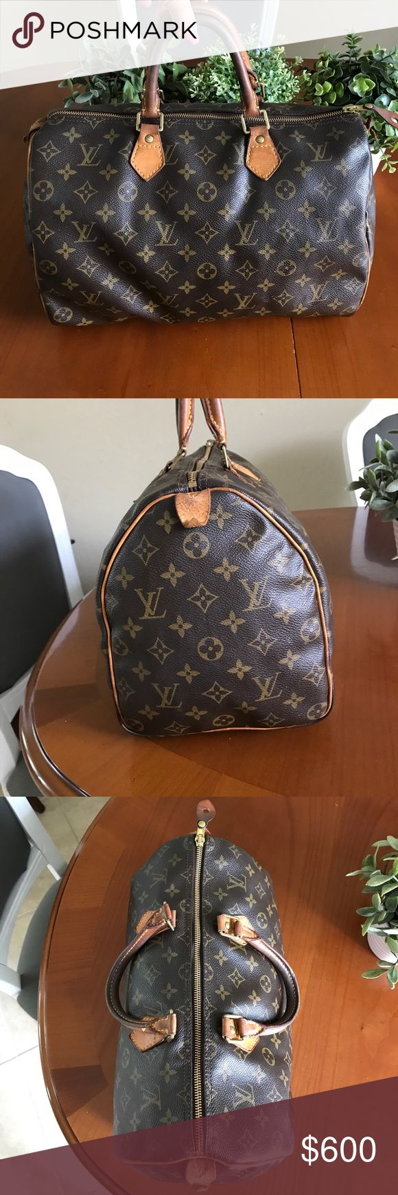 Louis Vuitton speedy 35 AUTHENTIC Louis Vuitton speedy 35. In good condition. Lock leather ripped as shown in pictures. No trades. Louis Vuitton Bags