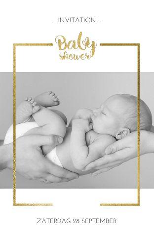 Lovz.nl   Elegante uitnodiging voor een babyshower. Upload je eigen foto. Versierd met een chic goudkleurig kadertje. Zelf maken. Alles staat los op dit kaartje en kun je verplaatsen of omkleuren.