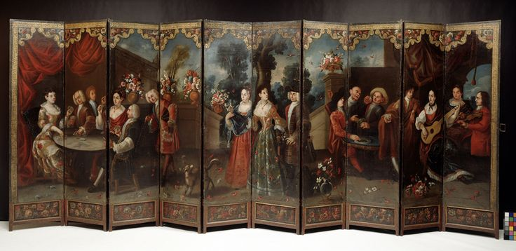 Spanish Colonial Art | Denver Art Museum. Biombo/folding screen similar to Screen with the Siege of Belgrade and hunting scene. Circle of the González Family. c. 1697–1701 C.E. Tempera and resin on wood, shell inlay.
