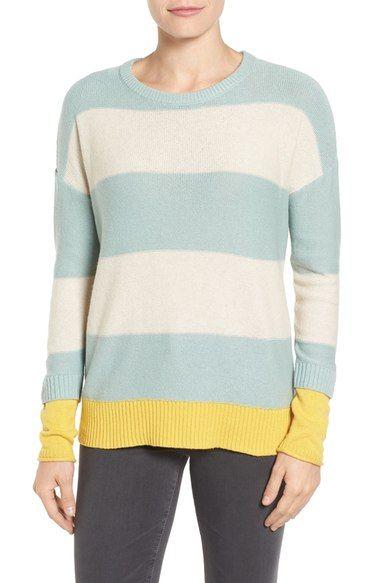 Caslon® Contrast Cuff Crewneck Sweater (Regular & Petite) available at #Nordstrom