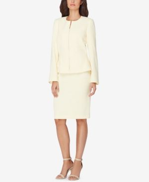 Tahari Asl Petite Zip-Up Skirt Suit - Yellow 12P
