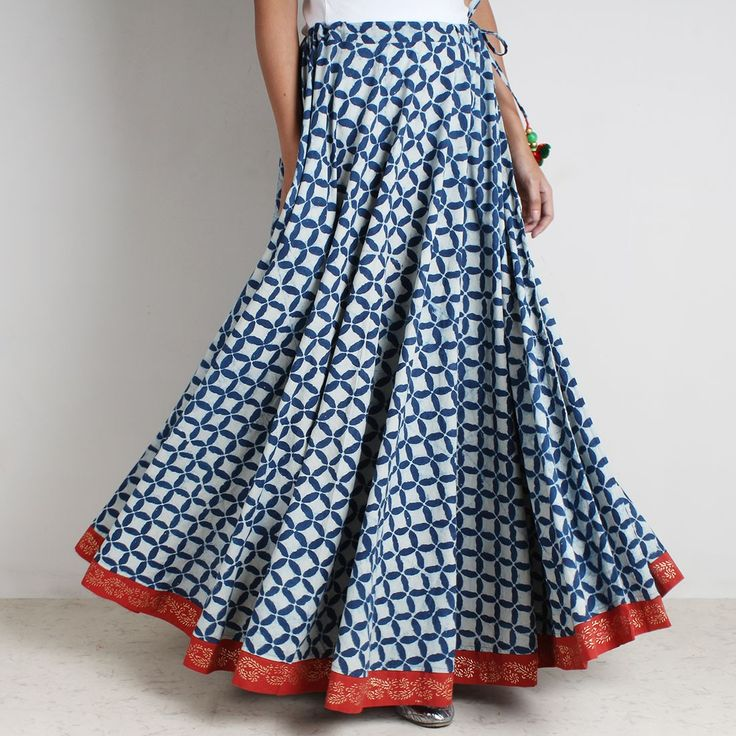 Cotton Cambric Indigo Rogan Gold Hand Block Print Skirt With Tassles
