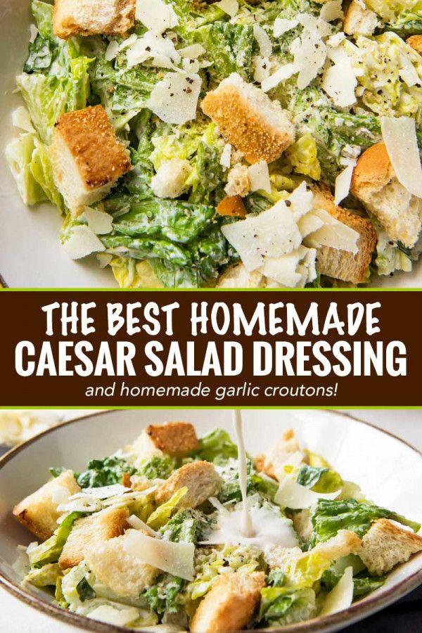 Perfekter Caesar-Salat nach Restaurantart mit hausgemachtem Dressing und hausgemachtem Knoblauch …   – Food