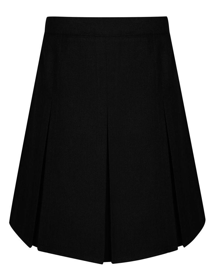 Girls School Plus Fit Pleated Skirt - Black | School | George at ASDA