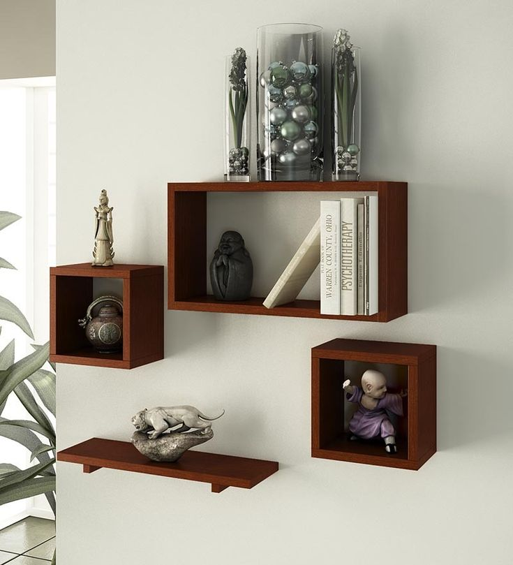 Good Home Sparkle Set Of 4 Mango Wood Wall Shelves By Home Sparkle Online   Wall  Shelves   Home Decor   Pepperfry Product