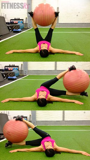 *Did these at a bootcamp class and was so sore for the next couple of days! So worth it. One of the most effective ways to challenge your obliques!* Windshield Wipers With Stability Ball. Challenge your obliques!