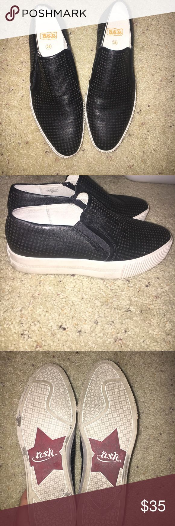 Black Ash Leather Platform Tennis Shoes Size 26/worn a couple of times/good condition/pointed toe/Message me with any questions/Thanks for looking! Ash Shoes Platforms