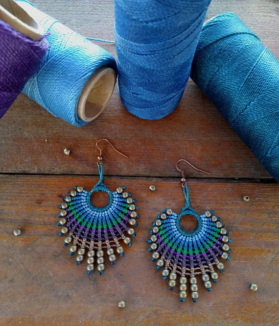 Macrame earrings peacock feather earrings boho chic