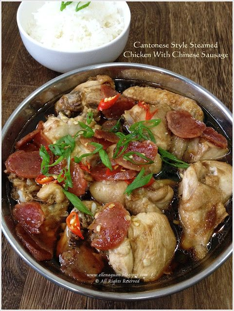 cantonese style steamed chicken with chinese sausage