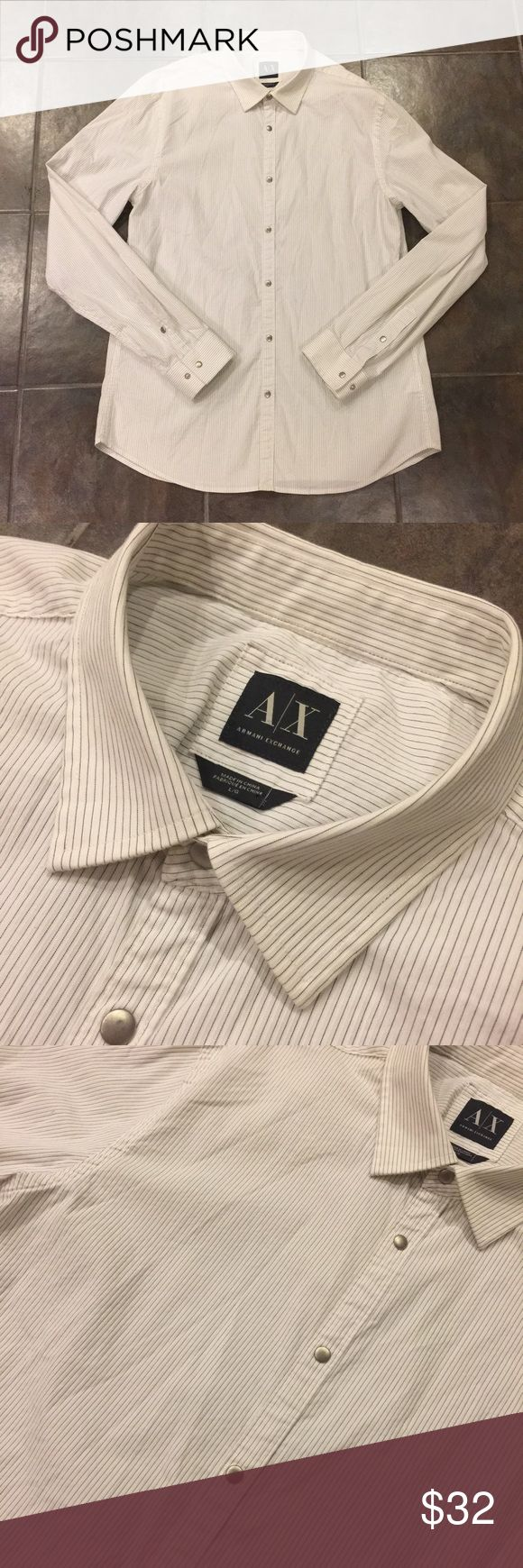 A/X ARMANI EXCHANGE White Striped Button Down Want to impress your boss? Wear this shirt. Want to impress your date? Wear this shirt. Want to find a date? Wear this shirt! This gorgeous fitted collared Button Down from Armani Exchange will take you from the board room to date night seamlessly. Who doesn't love easy style! Armani Exchange Shirts Dress Shirts