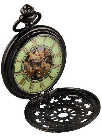 Alienwork Retro Handaufzug mechanische Taschenuhr Skelett Uhr grün schwarz Metall WDG005-01