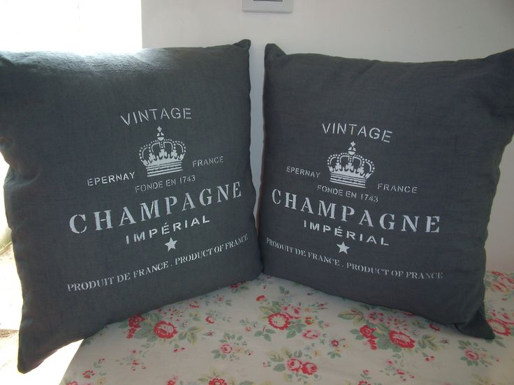 antique dyed French linen stencilled with vintage champagne https://www.facebook.com/SewchicFrance/photos/a.416397795139531.1073741827.414341715345139/809997175779589/?type=1&theater