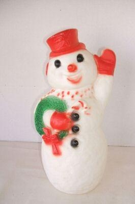 Vintage Christmas Blow Mold ~ Dapol Industries Waving Snowman with Wreath