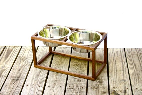 Mid Century Modern Raised Dog Food and Water Stand in Solid Walnut with Two Stainless Steel Dog Bowls