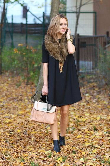 Stylish.  [The Item Dress, Meli Melo Bag, Mart Of China Boots]