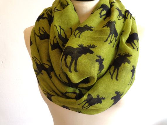 Green moose infinity scarf. You will love this lightweight infinity scarf. Great addition to your wardrobe. You can wear this infinity scarf long or