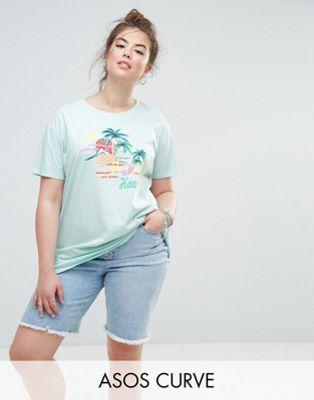 ASOS CURVE T-Shirt with Postcard Print